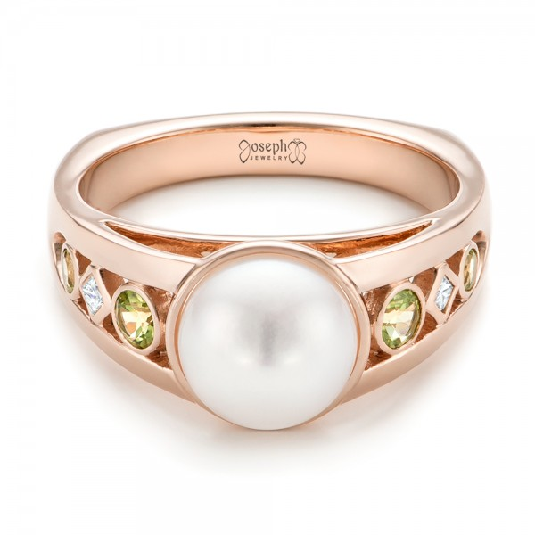 Top Custom White Pearl, Peridot and Diamond Fashion Ring #102755 IS46