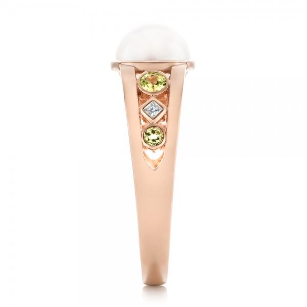 Custom White Pearl, Peridot and Diamond Fashion Ring - Side View