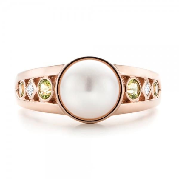 Custom White Pearl, Peridot and Diamond Fashion Ring - Top View