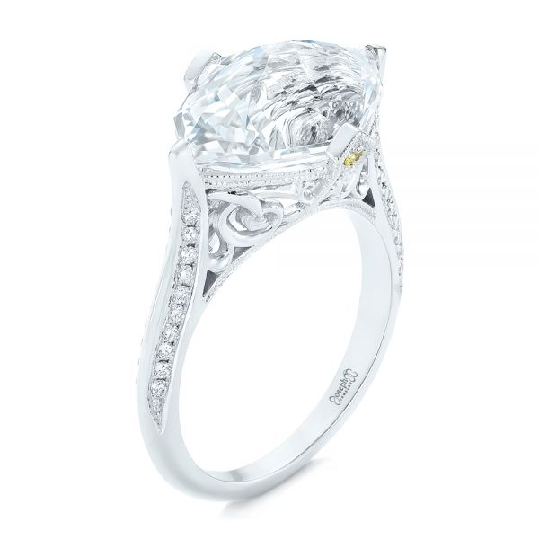 Custom White Sapphire and Diamond Fashion Ring - Three-Quarter View -  103591 - Thumbnail