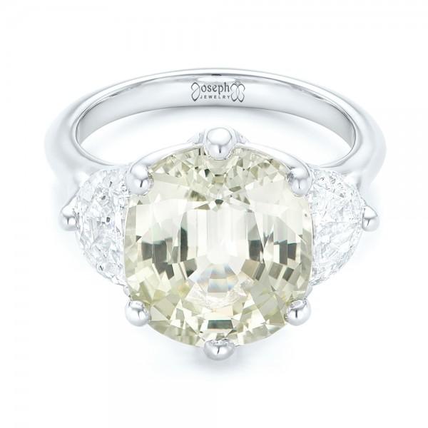 Custom Three Stone White Sapphire and Diamond Fashion Ring - Laying View