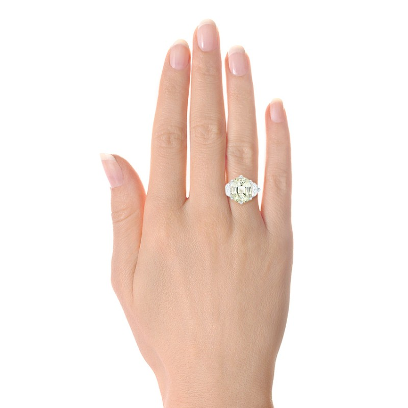 Custom Three Stone White Sapphire and Diamond Fashion Ring - Model View