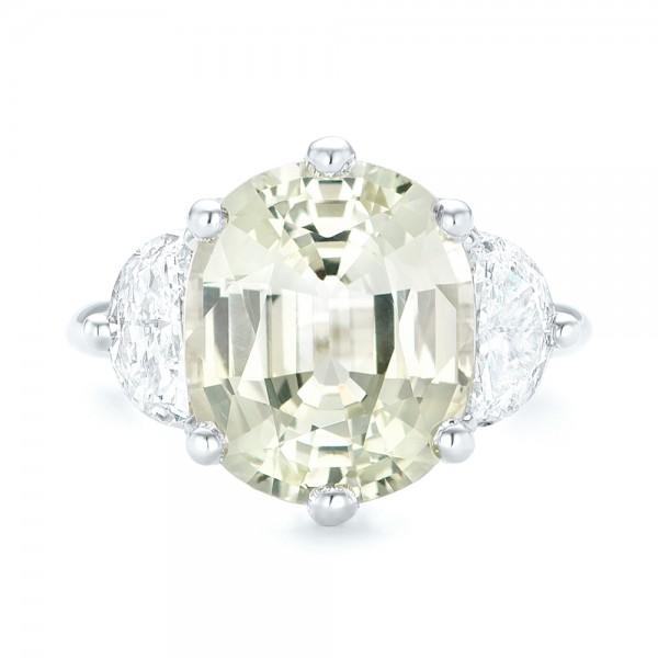 Custom Three Stone White Sapphire and Diamond Fashion Ring - Top View