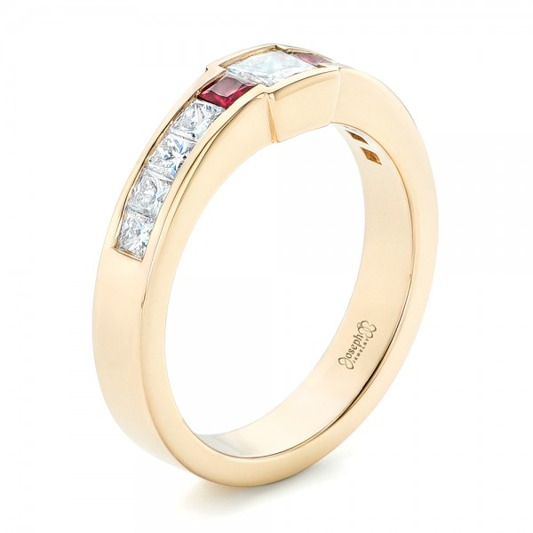 Custom Yellow Gold Ruby and Diamond Fashion Ring - Three-Quarter View -  102830 - Thumbnail