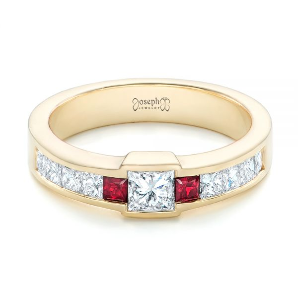 14k Yellow Gold Custom Ruby And Diamond Fashion Ring - Flat View -  102830