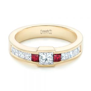 Custom Yellow Gold Ruby and Diamond Fashion Ring