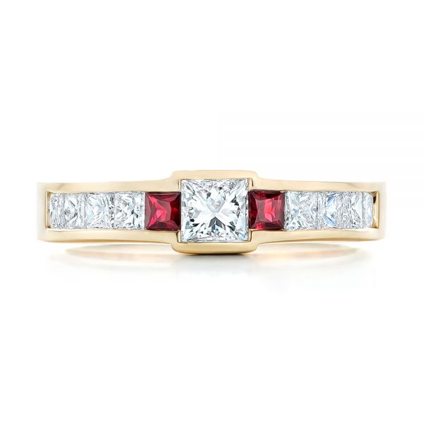 14k Yellow Gold Custom Ruby And Diamond Fashion Ring - Top View -  102830