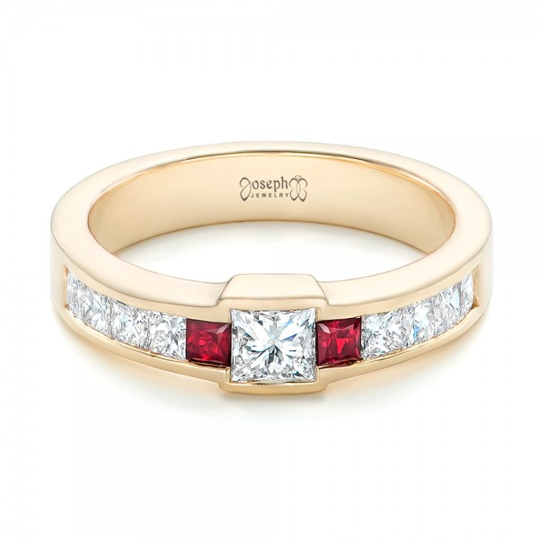 Custom Yellow Gold Ruby and Diamond Fashion Ring - Flat View -  102830 - Thumbnail