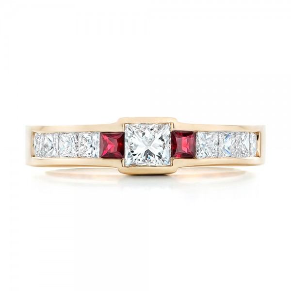 Custom Yellow Gold Ruby and Diamond Fashion Ring - Top View -  102830 - Thumbnail