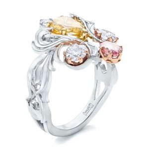 Custom Yellow, Pink and White Diamond Fashion Ring