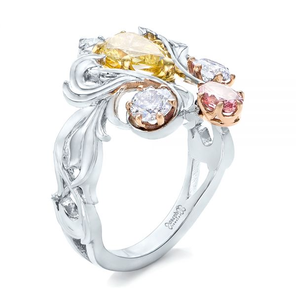 Custom Yellow, Pink and White Diamond Fashion Ring - Image