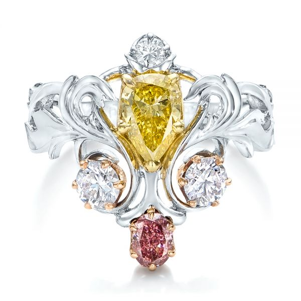 Custom Yellow Pink And White Diamond Fashion Ring - Top View -