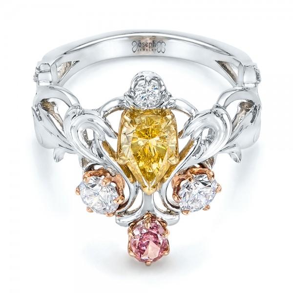 Custom Yellow, Pink and White Diamond Fashion Ring - Laying View
