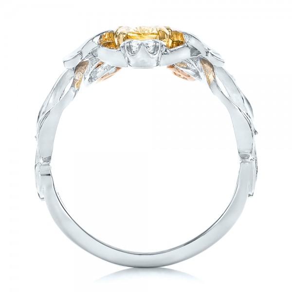 Custom Yellow, Pink and White Diamond Fashion Ring - Finger Through View