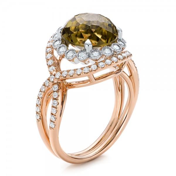 diamond and olive quartz fashion ring 101869   seattle