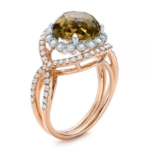 Diamond and Olive Quartz Fashion Ring - Image