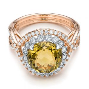 Diamond and Olive Quartz Fashion Ring