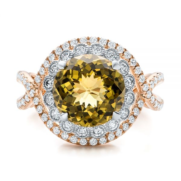 Diamond And Olive Quartz Fashion Ring - Top View -