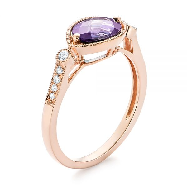 East-West Amethyst and Diamond Ring