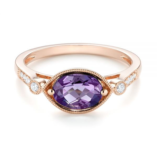 18k Rose Gold 18k Rose Gold East-west Amethyst And Diamond Ring - Flat View -  103756