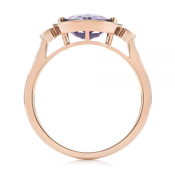 18k Rose Gold 18k Rose Gold East-west Amethyst And Diamond Ring - Front View -  103756