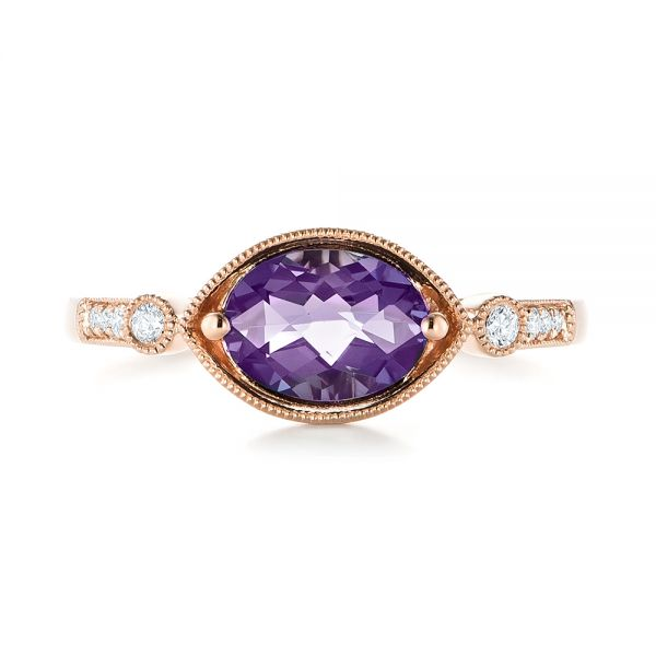 18k Rose Gold 18k Rose Gold East-west Amethyst And Diamond Ring - Top View -  103756