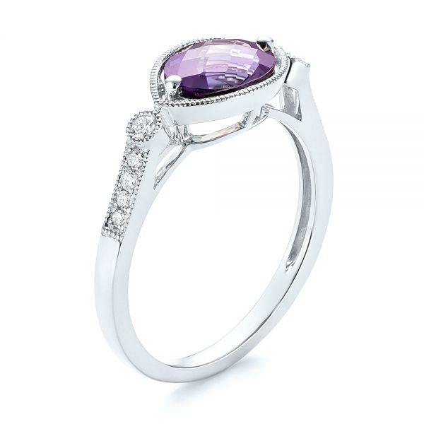 18k White Gold 18k White Gold East-west Amethyst And Diamond Ring - Three-Quarter View -  103756