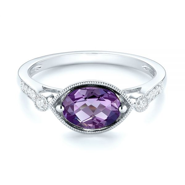 18k White Gold 18k White Gold East-west Amethyst And Diamond Ring - Flat View -  103756