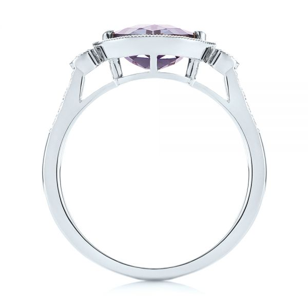 18k White Gold 18k White Gold East-west Amethyst And Diamond Ring - Front View -  103756