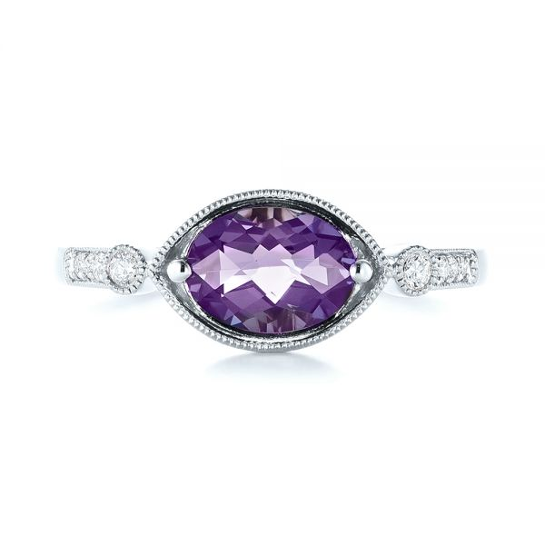 18k White Gold 18k White Gold East-west Amethyst And Diamond Ring - Top View -  103756