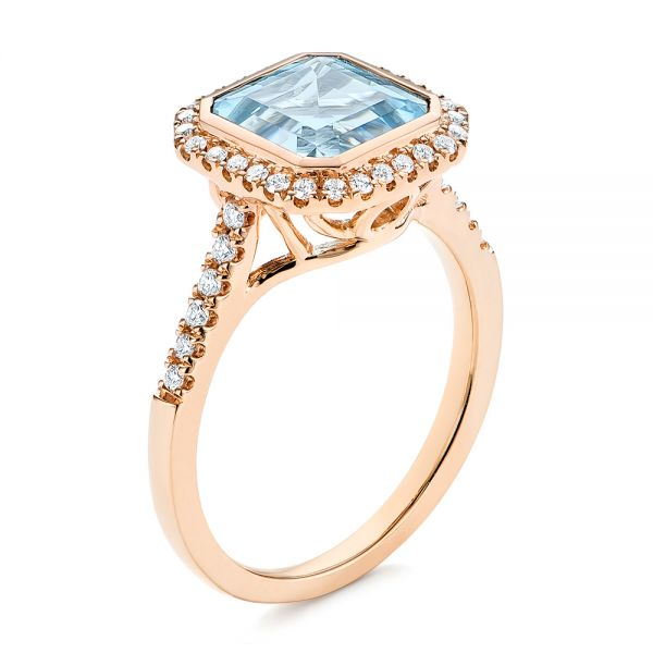 18k Rose Gold Emerald Cut Aquamarine And Diamond Halo Ring