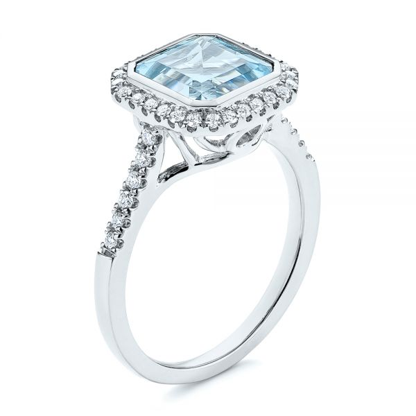 Emerald Cut Aquamarine and Diamond Halo Ring - Image