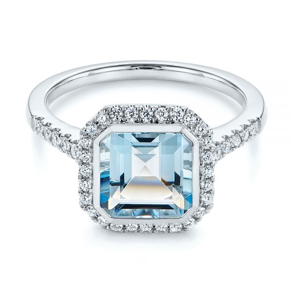 14k White Gold Emerald Cut Aquamarine And Diamond Halo Ring - Flat View -  105445 - Thumbnail