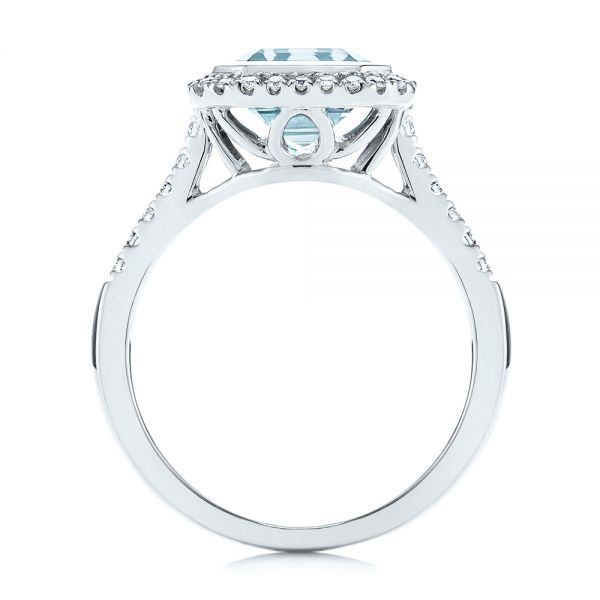 14k White Gold Emerald Cut Aquamarine And Diamond Halo Ring - Front View -  105445 - Thumbnail