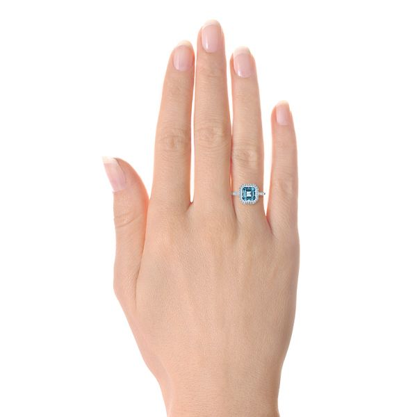 14k White Gold Emerald Cut Aquamarine And Diamond Halo Ring - Hand View -  105445 - Thumbnail