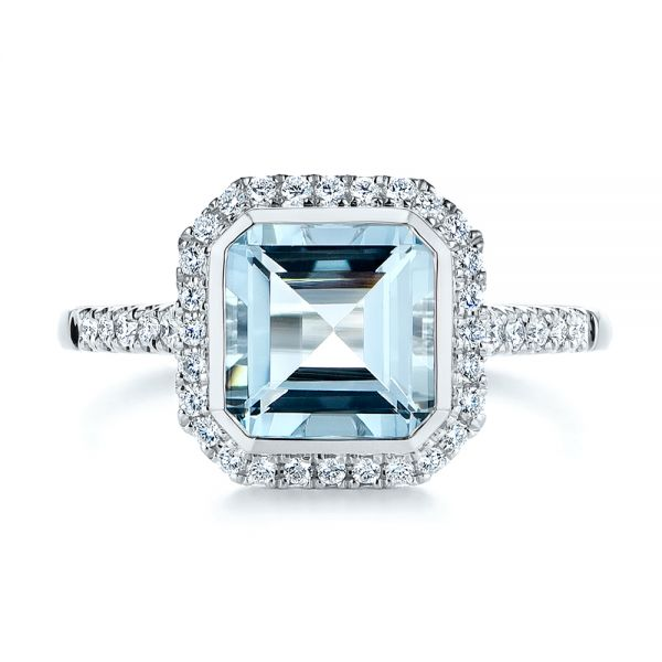 14k White Gold Emerald Cut Aquamarine And Diamond Halo Ring - Top View -  105445 - Thumbnail