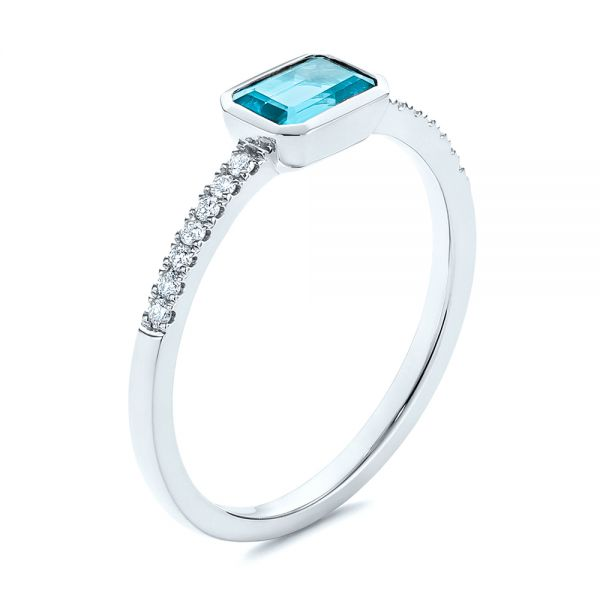 Emerald Cut Blue Topaz and Diamond Fashion Ring - Image