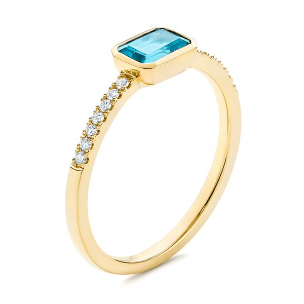 14k Yellow Gold 14k Yellow Gold Emerald Cut Blue Topaz And Diamond Fashion Ring - Three-Quarter View -  105435