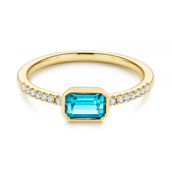 14k Yellow Gold 14k Yellow Gold Emerald Cut Blue Topaz And Diamond Fashion Ring - Flat View -  105435