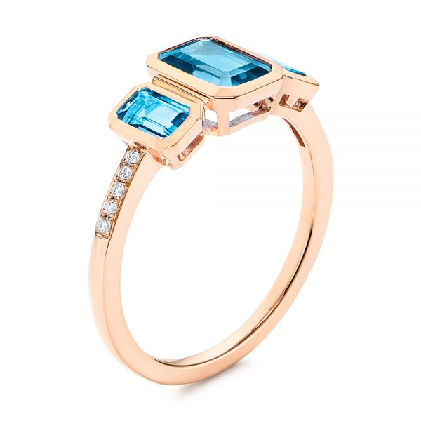 18k Rose Gold Emerald Cut Blue Topaz And Diamond Three-stone Ring