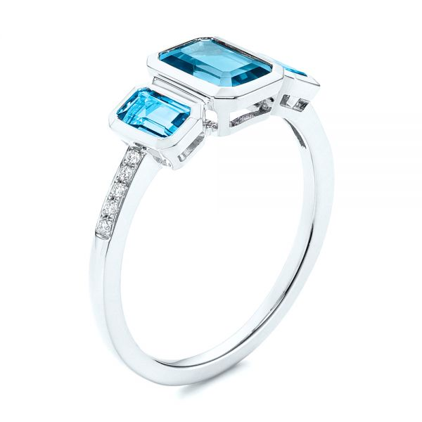 Emerald Cut Blue Topaz and Diamond Three-stone Ring - Image