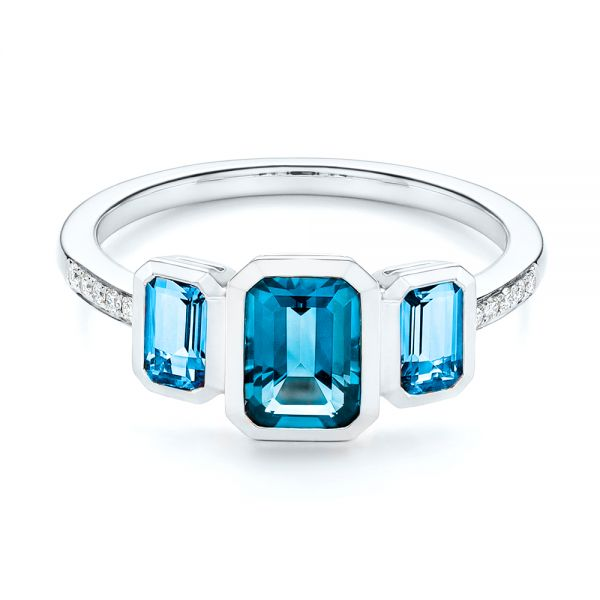 14k White Gold Emerald Cut Blue Topaz And Diamond Three-stone Ring - Flat View -  106024 - Thumbnail