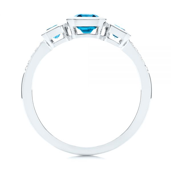 14k White Gold Emerald Cut Blue Topaz And Diamond Three-stone Ring - Front View -  106024 - Thumbnail
