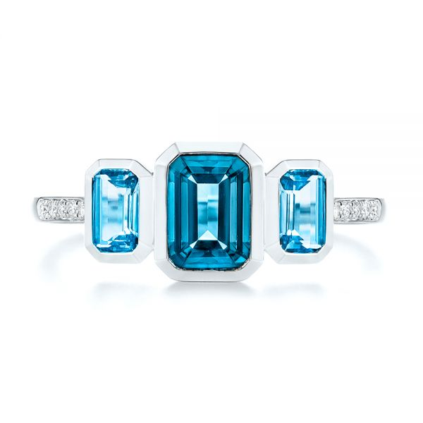 14k White Gold Emerald Cut Blue Topaz And Diamond Three-stone Ring - Top View -  106024 - Thumbnail