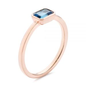 Emerald Cut London Blue Topaz Fashion Ring - Image