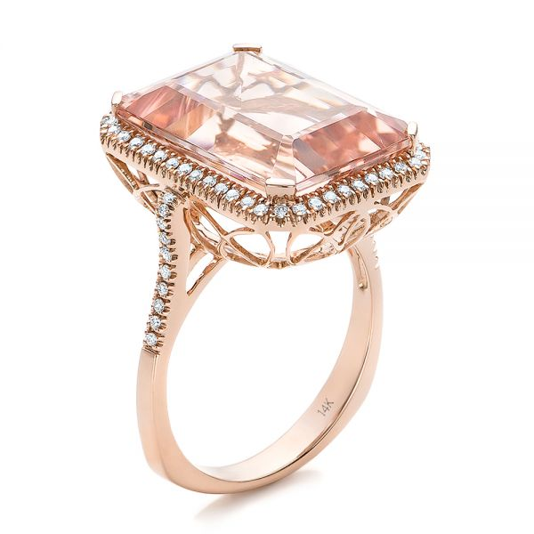 Emerald Cut Morganite And Diamond Halo Ring - Three-Quarter View -
