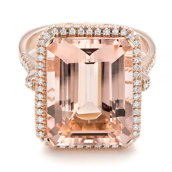 Emerald Cut Morganite And Diamond Halo Ring - Flat View -