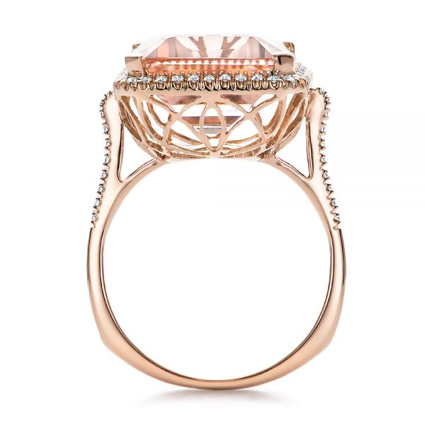Emerald Cut Morganite And Diamond Halo Ring - Front View -