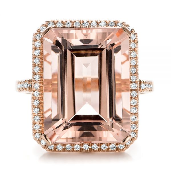 Emerald Cut Morganite And Diamond Halo Ring - Top View -