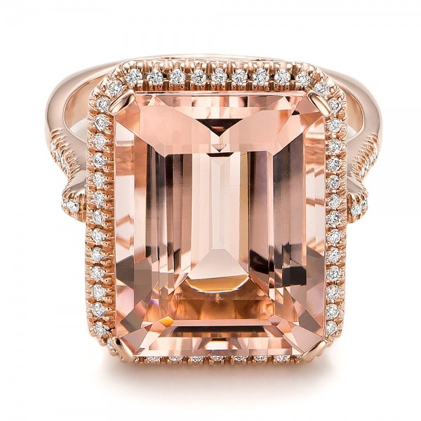 Emerald Cut Morganite and Diamond Halo Ring - Laying View